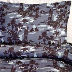 Blue Hawaiian Print Sheet Sets -Tropical Beach Bedding by Sin in Linen
