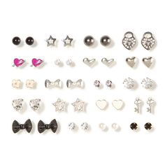 Assorted Silver and Hematite Stud Earrings Set of 20 | Claire's