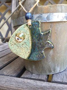 Adorno de peces de gres | Adorno cerámica de pescado | Decoración de cerámica de arte popular pescado | Cerámica arte adorno de peces | Decoración de peces divertidos