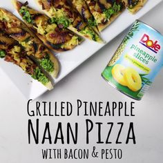 - Our Grilled Pineapple Naan Pizza with Pesto & Bacon will change your life! Check out this and many more delicious new recipes on our website. Summer Recipes, Great Recipes, Dinner Recipes, Favorite Recipes, Family Recipes, Dinner Ideas, Paninis, Naan Pizza, Bread Pizza