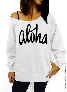 """Use coupon code """"pinterest"""" Aloha - White Slouchy Oversized Sweatshirt by DentzDenim"""