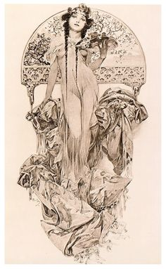 Woman Holding a Tray of Flowers illustration from Documents Decoratifs by Alphonse Mucha, 1901