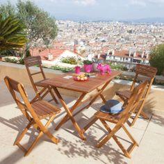 # AlineaPE2014 Table de jardin avec 4 chaises en acacia - Silmo - Les tables de jardin - Les tables et chaises - Jardin - Décoration d'intérieur - Alinéa