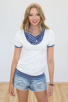 """Maritimes Shirt """"Kopenhagen"""" in Creme Blau / maritime shirt, maritime style, striped white by Shoko via DaWanda.com"""