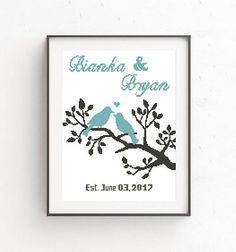 Wedding Cross Stitch Printable PDF Pattern Love Birds Family