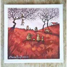"""Paintings - FREE COURIER --- """"BABOON APPLE SCRUMPING"""" Painting by KAROO Artist, Cherie Roe Dirksen 200x200x20 for sale in Barrydale (ID:452893052) Original Paintings, Original Art, South African Artists, Baboon, Art Series, Art Portfolio, Red Poppies, Art Auction, All Art"""
