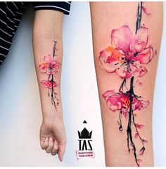 Cherry blossom tattoo designs, widely popular as sakura tattoos, are among the most popular floral tattoos inked all over the world. Sakura tattoos are Body Art Tattoos, New Tattoos, Sleeve Tattoos, Cool Tattoos, Wrist Tattoos, Water Color Tattoos, Tatoos, Dream Tattoos, Diy Tattoo