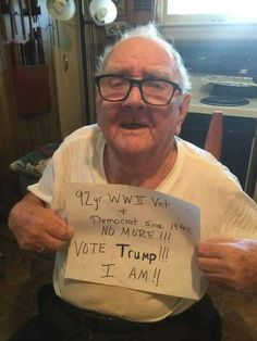 92 Year Old WWII Veteran and Lifelong Democrat Walked Away For President Trump July 07 2018 at Trump Is My President, Vote Trump, Pro Trump, I Love America, God Bless America, Trump Train, Political Memes, Conservative Politics, Thing 1