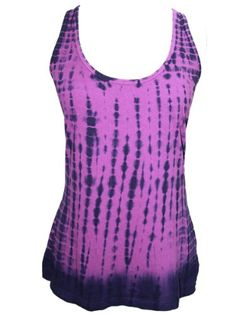 YogaColors Emoticon Ladies Tie Dye Cotton Tank Top (Large, Purple Haze)