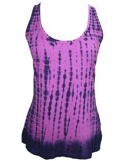 YogaColors Emoticon Ladies Tie Dye Cotton Tank Top (Large, Purple Haze)