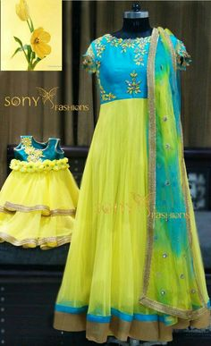 Matching Matching with Mommy ! Mom Daughter Matching Dresses, Mom And Baby Dresses, Girls Dresses, Mother Daughter Fashion, Indian Designer Outfits, Designer Dresses, Designer Wear, Long Gown Dress, Indian Gowns Dresses