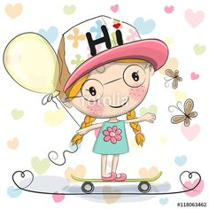 Illustration about Cute Cartoon Girl with balloon on a skateboard. Illustration of cute, print, face - 75674056 Cartoon Cartoon, Cartoon Girl Images, Cute Cartoon Boy, Cartoon Profile Pictures, Cartoon Drawings, Cartoon Characters, Cute Cat Illustration, Its A Girl Balloons, Unicorn Pictures
