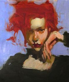 Milt Kobayashi {contemporary figurative abstracted #impressionist art female redhead woman face portrait cropped painting #loveart}