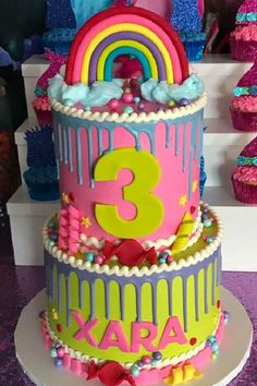 Check out this fun and colorful Trolls birthday party! The birthday cake is so sweet! See more party ideas and share yours at CatchMyParty.com