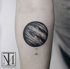 Stunning black and grey ink planet by Marlon M Toney