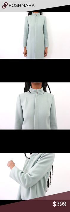 A.P.C. Powder Blue Chic Wonder-Balmacaan Wool Coat Details: A.P.C Rue De Fleurus Paris over coat. Slit pockets at sides. Concealed front button and hook closure. Prussian collar. Lined. Orig. $650 Bust: 39 Waist: 39 Hips: 39.5 Full Garment Length: 39.5 Marked size: M Label: A.P.C Rue De Fleurus Paris Color: Powder Blue Fabric: 100% Wool Condition/Care: Excellent (mild interior stain)/ Dry Clean A.P.C. Jackets & Coats
