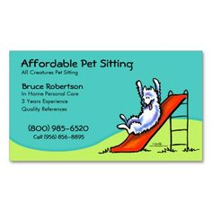 Pet Sitter Dog Day Care Business Business Card. I love this design! It is available for customization or ready to buy as is. All you need is to add your business info to this template then place the order. It will ship within 24 hours. Just click the image to make your own!