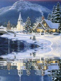 christmas scenes beeindruckendes Bild E - Christmas Scenes, Christmas Villages, Christmas Art, Winter Christmas, Vintage Christmas, Christmas Puzzle, Merry Christmas Gif, Christmas Landscape, Magical Christmas