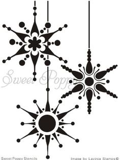 Sweet Poppy Stencil Snowflake Bauble.  Cute Xmas card design. Do emboss relief and watercolor or alcohol ink spray?