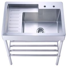 Pearlhaus All In One Freestanding Stainless Steel 33 2 Hole Single Bowl Kitchen Sink Brushed