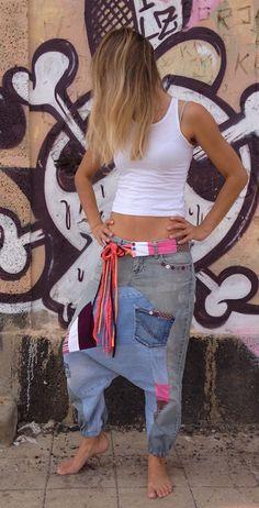 MAIKAII♥S/M♥HAREMSHOSE♥JEANS♥UPCYCLING♥VINTAGE♥YOGA♥DAWANDA♥SAROUEL♥UNIKAT♥ in Kleidung & Accessoires, Damenmode, Hosen | eBay