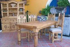 Lone Star Table W/ 4 Chairs   Katy Furniture Rustic Mexican Furniture,  Mexican Home