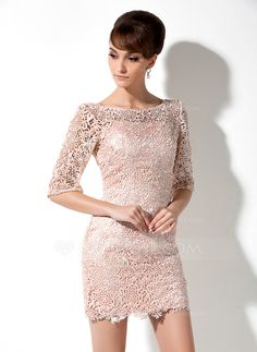 Mother of the Bride Dresses - $146.99 - Sheath Scoop Neck Short/Mini Charmeuse Lace Mother of the Bride Dress (008006235) http://jjshouse.com/Sheath-Scoop-Neck-Short-Mini-Charmeuse-Lace-Mother-Of-The-Bride-Dress-008006235-g6235