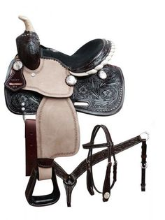 Double T Saddlery pony saddle set with engraved silver conchos. Headstall and breast collar are accented with dark oil floral tooling and headstall features blue crystal rhinestone rosette conchos. Pretty Horses, Horse Love, Dark Horse, Leather Tooling, Suede Leather, Tooled Leather, Pony Saddle, Stirrup Leathers, Barrel Racing Tack