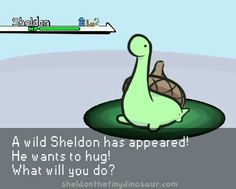 Sheldon the Tiny Dinosaur who Thinks he's a Turtle, , This is actually pretty old, and was originally. would hug Cute Comics, Funny Comics, Funny Quotes, Funny Memes, Hilarious, Jokes, Daft Punk, Turtle Dinosaur, Dinosaur Pics