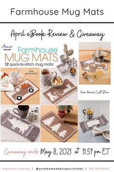 12 Farmhouse Mug Mat Crochet Patterns 12 Farmhouse Mug Mat Crochet Patterns designed with your breaktime in mind. These mats are larger than coasters and can fit both your favorite hot drink mug and a special treat. Giveaway ends May 8, 2021 at 11:59 pm ET. Open worldwide where allowed by Law. Void in Quebec. Giveaway not affiliated with Instagram, Facebook or Pinterest. Enter here: Annie's Crochet, Crochet Hooks, Crochet Patterns, Crochet Coaster, Dk Weight Yarn, Candy Stripes, Project Yourself, Yarn Colors