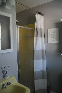 There is a room in my house that few people even know exists. The door. Bathroom Shower DoorsBathroom CurtainsBathroom ... & how to hide an ugly shower door with a cool curtain | I\u0027m going to ...
