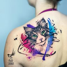What is a watercolor tattoo and what are the pros and cons of watercolor tattoos? Undoubtedly this style is one of the most spectacular forms of body art. Watercolor Tattoo Words, Watercolor Tattoo Shoulder, Watercolor Galaxy Tattoo, Flower Watercolor, Abstract Watercolor, Tattoo Gato, Tattoo Ink, Arm Tattoo, Cat Face Tattoos