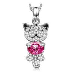 Qianse Cute 'Lucky Cat' With Pink SWAROVSKI ELEMENTS Crystals Pendant Necklace Women Jewelry ** You can find more details by visiting the image link. (This is an affiliate link and I receive a commission for the sales)