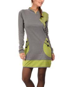 Look what I found on #zulily! Gray & Green Pocket Mock Neck Dress #zulilyfinds