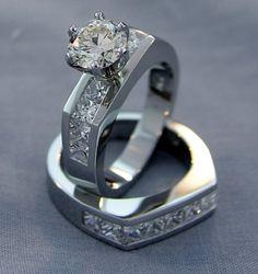This platinum wedding set contains a 1.30 carat round diamond center and 17 channel set princess cut diamonds.  #imagesjewelers #customjewelry #engagementring #weddingring #diamondring #platinum #diamond