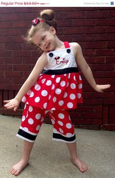 PERSONALIZED MINNIE MOUSE Disney Dress or Outfit Minnie Dots with Ribbon and Minnie Mouse Ears Hat