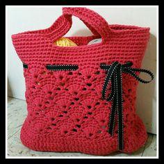 Woodberry Tote Bag/Crochet Shopper Tote Bag/Market by FondOfKnots