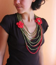Christmas Crochet Necklace with Flowers In Green and Red by whitewolfsclouds on Etsy.