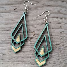CHEVRON DECO Green Tree Jewelry TEAL laser-cut wood earrings made-in-USA 1039 #GreenTree #DropDangle