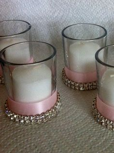 DIY - Fancy little candles. (perfect for kids to make as gifts) I'd prefer blue over pink Baby Shower Centerpieces, Baby Shower Favors, Shower Party, Baby Shower Parties, Baby Showers, Baby Baptism, Baptism Party, Christening, Baptism Ideas
