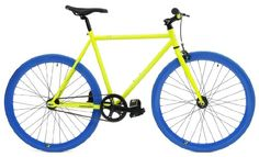 Total Hotness! Retrospec Mini Mantra Fixie Bicycle with Sealed Bearing Hubs and Headlamp, Neon Yellow and Blue, 57cm/Large Was: $350.00    Now: $281.68