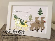 Santas Sleigh Ride frame using Stampin Up products | The frame is from Ikea | Sarah Lancaster - pirouette paper craft #stampinup