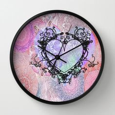 Decorative Wall Clock Pastel Heart 1 Original Fine Art by deleas, $45.00