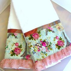 Pink Roses and Lace on Blue Decorated Hand Towels x Cotton Towels White Hand Towels, Ebay Shopping, Elsa, Pretty Hands, Cotton Towels, Pink Roses, Fabric Design, Cotton Fabric, Arts And Crafts
