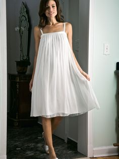 Natasha - Luxury Nightgowns - The instant you slip into this diaphanous pouf of softly pleated silk chiffon, the woman most likely to be desired is you Cute Nightgowns, Sleeping Gown, Luxury Nightwear, Nightgown Pattern, White Chiffon, Silk Chiffon, Gown Gallery, Hand Embroidery Dress, Vintage Nightgown