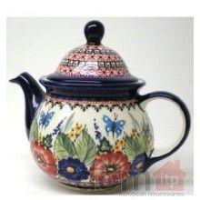 Boleslawiec Tea Pot with butterflies and flowers Polish Pottery teapot stone ware Stoneware