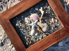 """14""""x 12"""" Beach Glass Wall and/or Window Art/Seashell Art/Coastal Art/Resin Art/Unique Coastal Decor/Beach House Decor/Sun Catcher/Great Gift  Handmade in South Carolina with high quality materials and secured with care. The design is bonded (not glued) to glass with resin and framed in a 14"""" x 12"""""""
