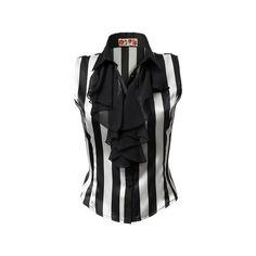 JJ Park Stripe Blouse ($55) ❤ liked on Polyvore featuring tops, blouses, shirts, blusas, shirts & blouses, chiffon shirt, ruffle blouse, chiffon ruffle blouse, striped shirt and chiffon shirt blouse