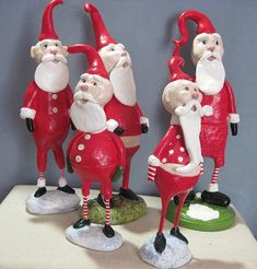 Santa's looking up created by Jean Wheelock in paperclay & Papier Mâché