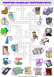 in my house furniture vocabulary criss cross crossword puzzle worksheet icon:
